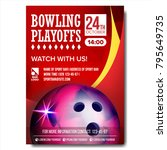 bowling poster vector. bowling... | Shutterstock .eps vector #795649735