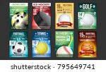 sport posters set vector. golf  ... | Shutterstock .eps vector #795649741