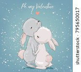 Stock vector cute hares couple 795650017