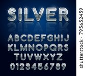 silver glossy alphabet letters... | Shutterstock .eps vector #795652459