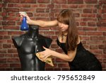 Sexy Girl In Black And Mannequin