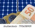 solar panel with 50 bill of...   Shutterstock . vector #795658909