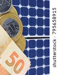 solar panel with 50 bill of...   Shutterstock . vector #795658915