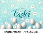 easter poster with eggs ... | Shutterstock .eps vector #795659281