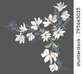 magnolia embroidery ... | Shutterstock . vector #795665035
