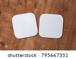 two square white coasters on... | Shutterstock . vector #795667351