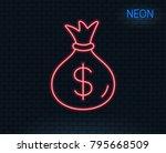 neon light. money bag line icon.... | Shutterstock .eps vector #795668509