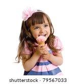 little girl with ice cream in studio isolated - stock photo