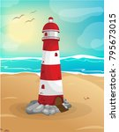lighthouse at the coast vector  ... | Shutterstock .eps vector #795673015