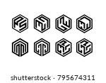 black line hexagon logo...   Shutterstock .eps vector #795674311