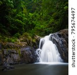 flowing waterfall at crystal... | Shutterstock . vector #795674497