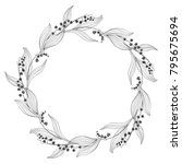 Floral Round Background With...