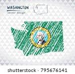 washington vector map with flag ... | Shutterstock .eps vector #795676141
