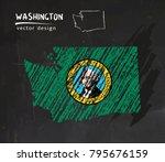 washington map with flag inside ... | Shutterstock .eps vector #795676159