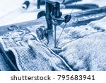 retro sewing machine and item... | Shutterstock . vector #795683941