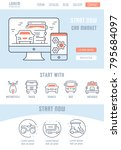 line illustration of car market.... | Shutterstock .eps vector #795684097