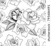 seamless pattern from flowers... | Shutterstock .eps vector #795686491