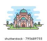 serbia building landmarks | Shutterstock .eps vector #795689755