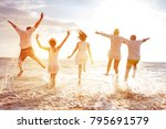 group of five happy peoples run ... | Shutterstock . vector #795691579