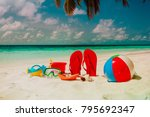 colored slippers  toys and... | Shutterstock . vector #795692347