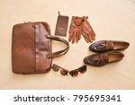 men's casual outfits with brown ... | Shutterstock . vector #795695341