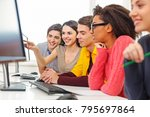group of students with computer ... | Shutterstock . vector #795697864