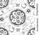 seamless pattern with pizza.... | Shutterstock .eps vector #795699025