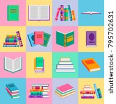 bright  books and reading... | Shutterstock .eps vector #795702631