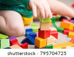 child playing with building... | Shutterstock . vector #795704725