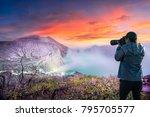 photographer or traveller using ... | Shutterstock . vector #795705577