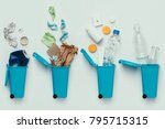 top view of trash bins and... | Shutterstock . vector #795715315
