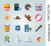 icon set about united states.... | Shutterstock .eps vector #795715759