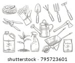 gardening tools vector... | Shutterstock .eps vector #795723601