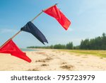 blue and red flag on the beach | Shutterstock . vector #795723979
