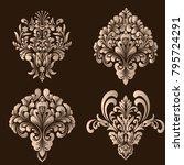 vector set of damask ornamental ... | Shutterstock .eps vector #795724291