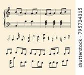 musical staff  notes  keys for... | Shutterstock .eps vector #795724315