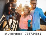 happy couple having fun time at ... | Shutterstock . vector #795724861