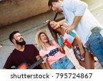 group of happy friends having...   Shutterstock . vector #795724867