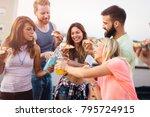 group of happy friends having...   Shutterstock . vector #795724915