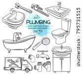 plumbing icons. hand drawn... | Shutterstock .eps vector #795731515