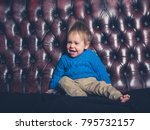 a cute little boy is sitting on ... | Shutterstock . vector #795732157