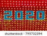 caption 2020  glitch art  led... | Shutterstock . vector #795732394