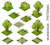 garden or farm isometric tile... | Shutterstock .eps vector #795732661