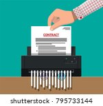 hand putting contract paper in... | Shutterstock .eps vector #795733144
