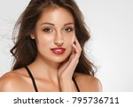 beautiful woman skin tanned red ... | Shutterstock . vector #795736711