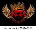 diamond with wings and crown.... | Shutterstock .eps vector #795740221