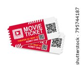 two movie tickets qr code scan... | Shutterstock .eps vector #795744187