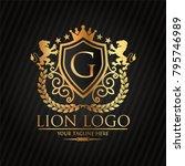 gold lion logo   vector...   Shutterstock .eps vector #795746989