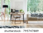 metal chair at desk with laptop ... | Shutterstock . vector #795747889