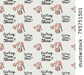fashion pattern with dont cry... | Shutterstock .eps vector #795751501